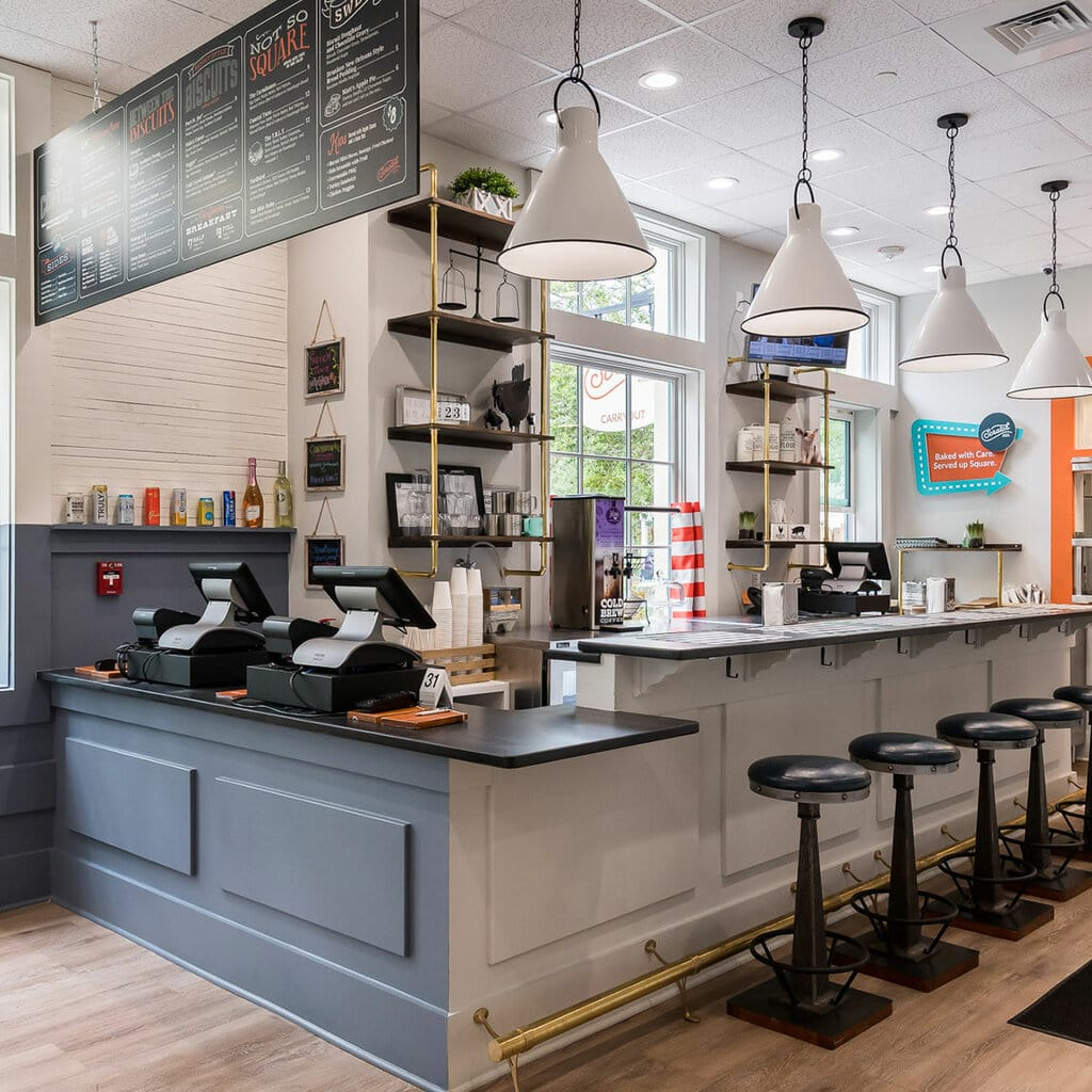 Counter service and bar seating at Scratch Biscuit Kitchen
